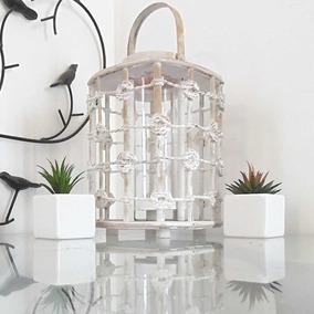 Lanterna Marroquina Decorativa Porta Velas Branca Bambu Sj