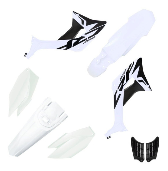 Kit Plástico Carenagem Biker Evo Crf 250f Com Adesivos Branco / Branco