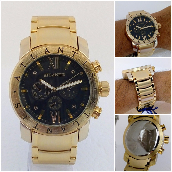 Relógio Masculino Atlantis A3310 Dourado Orig Estilo Bugary