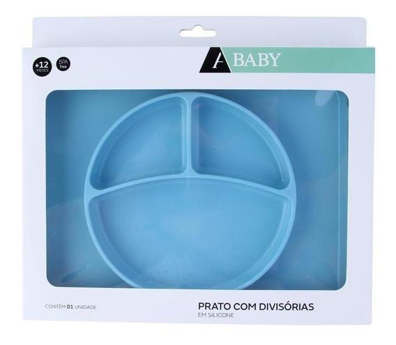 Prato Com Divisórias Silicone Azul 2,2x27,8cm - A/baby