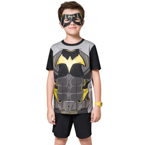 Pijama Curto Kids Preto Com Máscara Morcego