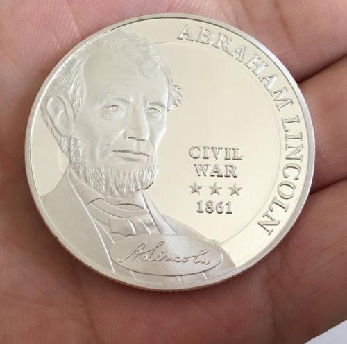 Moeda Comemorativa Abraham Lincoln Prata 1861 Guerra Civil