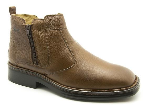 Botina Masculina 1001 Em Couro Floater Café Doctor Shoes