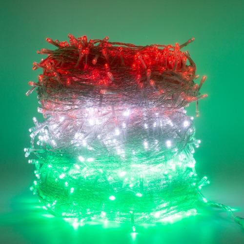 Imagen 1 de 5 de Kit Patrio Serie De Luces Led Verde Blanco Y Rojo De 50m C/u