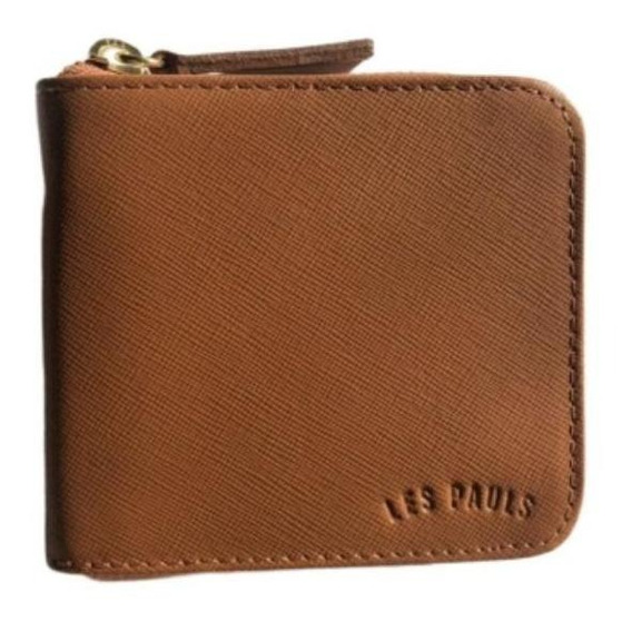 Billetera Les Pauls con cierre suela saffiano cuero