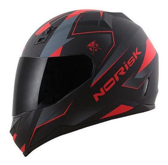 Capacete para moto integral Norisk FF391 Stripes black/red S
