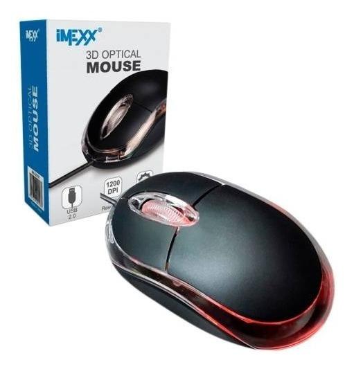 Mouse Optico 3d Usb Led Marca Imexx Negro Ime26300 Bagc
