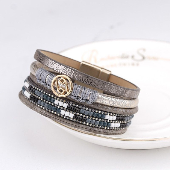 Pulseira Bracelete Ima De Couro Cinza E Prata
