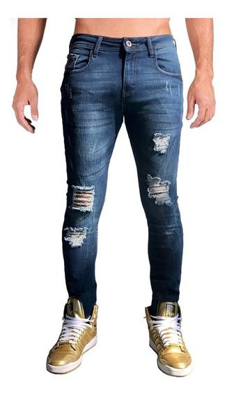 Jeans Pantalón Mezclilla Caballero Super Skinny Destrucción