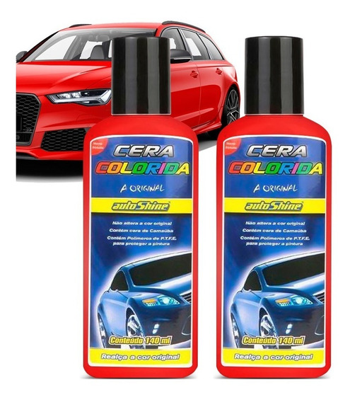 Kit 2 Cera Colorshine Vermelha Clara Autoshine 140ml