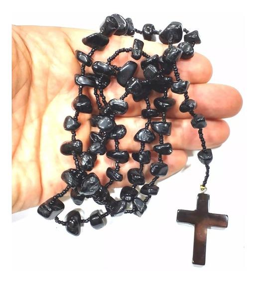 Terço De Pedra Obsidiana Negra Natural 50cm Ótima Qualidade