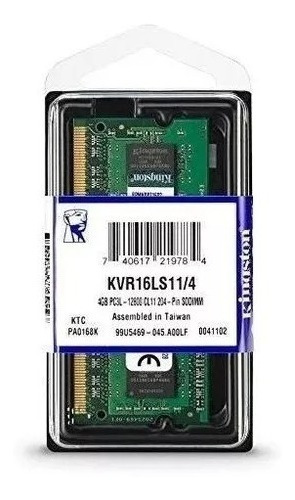 Memoria P/note 4gb Kingston 1,35v Ddr3 1600mhz Kvr16ls11/4