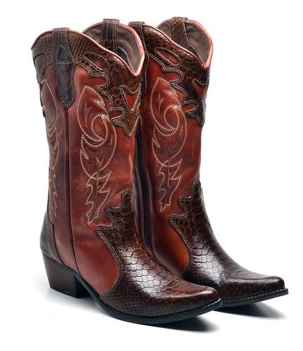 Imagem 1 de 4 de Bota Country Texana Feminina Montaria Couro Bico Fino Couro