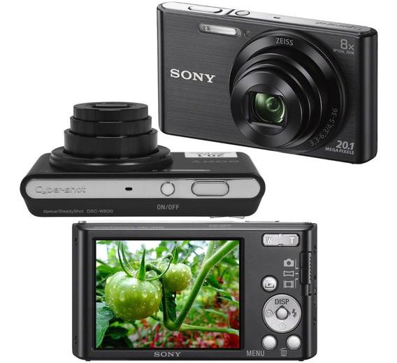 Câmera Fotográfica Sony Dsc W830 Hd 20.1mp 8x Preta C/ Nota