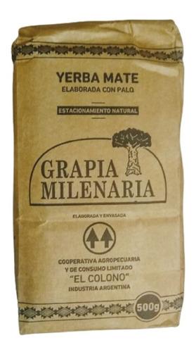 Imagen 1 de 7 de Yerba Mate Grapia Milenaria 1/2 Kg. Estacionamiento Natural
