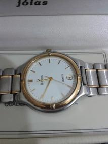 Relógio Suiço Bulova Quartz Prata Em Aço E Ouro Abaixei
