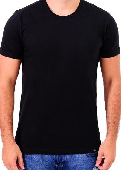 Camiseta Básica 100% Algodão Preta Cool Wave