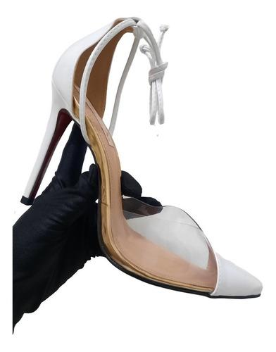 Imagem 1 de 3 de Sapato Scarpin Branco Feminino Salto Alto 11 Cm