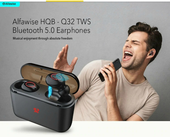 Fone Bluetooth Alfawise Air Sem Fios Top Com Case Carregador