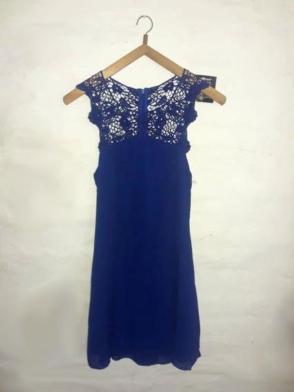 Vestido Azul De Organza Con Guipiure Nelly Importado