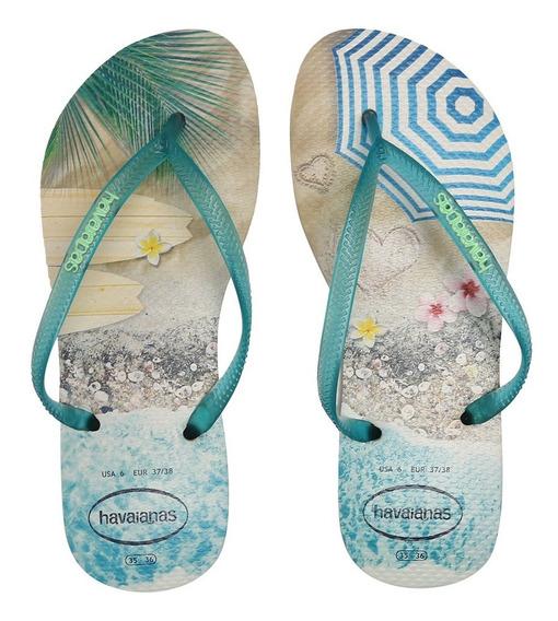 Sandálias Havaianas Slim Paisagem Bege Palha/turquesa 413261