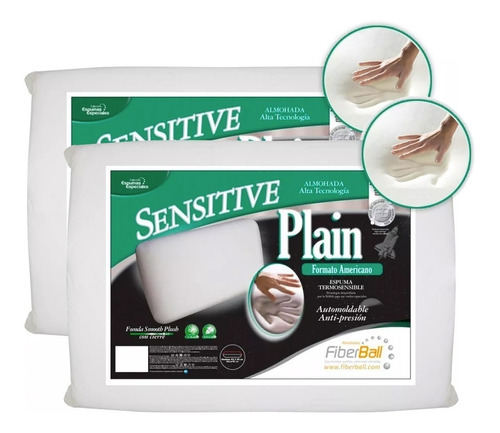Combo 2 Almohadas Sensitive Plain Fiberball