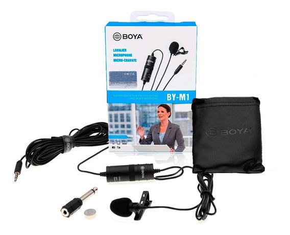 Microfone De Lapela Boya By-m1 Para Gravação Em Câmeras Dslr