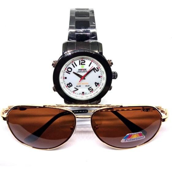 Kit Relógio Weide Wh1105 E Óculos De Sol Lova Oct