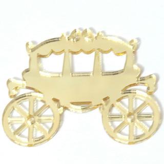Aplique Carruagem Acrilico Espelhado Dourado - Kit 10 Pç