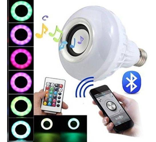 Lampada Musical Bluetooth Rgb Com Controle De Led