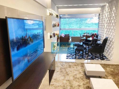 Imagem 1 de 25 de Apartamento Com 3 Dormitórios, 1 Suíte, Sacada Gourmet, Lazer Completo, 2 Vagas, À Venda, 126 M² Por R$ 900.000 - Canto Do Forte - Praia Grande/sp - Ap0143