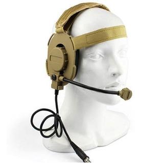 Headset Tático Com Ptt Headset Airsoft P/ Baofeng Ambidestro