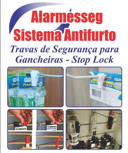 Trava De Gancheira Antifurto Stop Lock E Alarme De Loja
