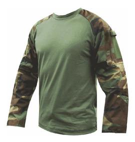 Remera Tactica Combat T Shirt Selva Woodland Corte Americano