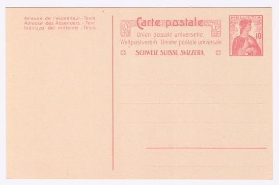 Suiza Antigua Carta Postal Nueva Sin Uso Al98