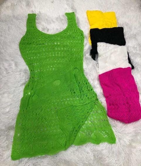 Saída Praia Curta Vestido Tricot Verão Banho Moda