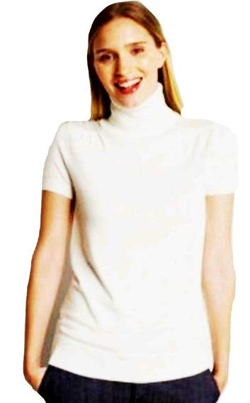 Blusa Dama De Cuello Alto Tacto Suave Tipo Sueter De Manga Corta Talla L Liquidacion $390a