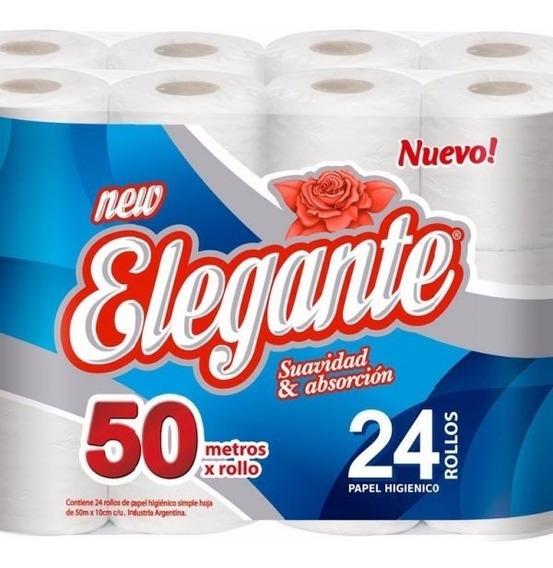 Papel Higiénico Elegante 50mts X 24 Rollos Oferta!