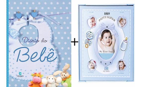 Kit Livro Diário Do Bebê Menino + Álbum De Fotos Azul F