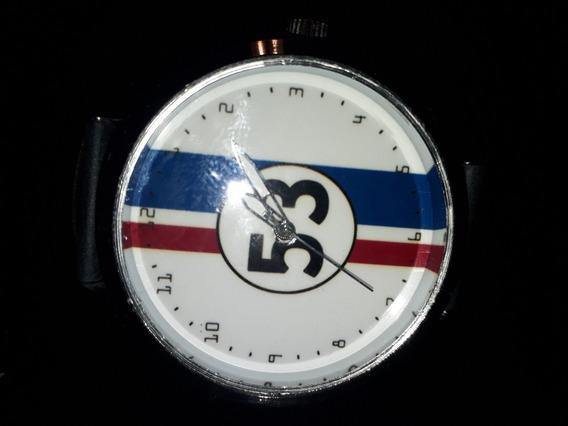 Relógio De Pulso Personalizado Fusca Herbie 53 Fundo Branco
