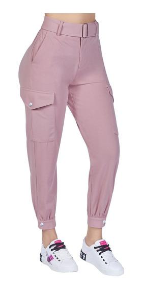 Pantalón Jogger Dama Básico Rosa De Palo Cklass