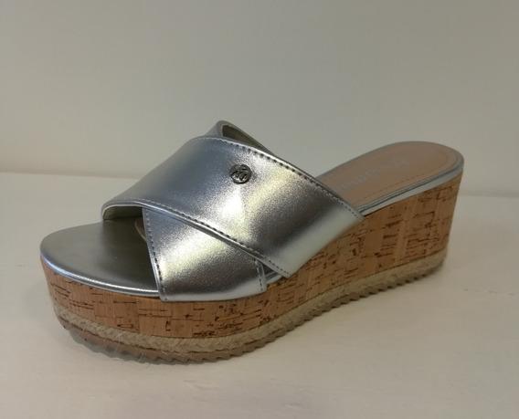 Sandalias Mujer Plateada Vía Marte 18-14829 Importadas