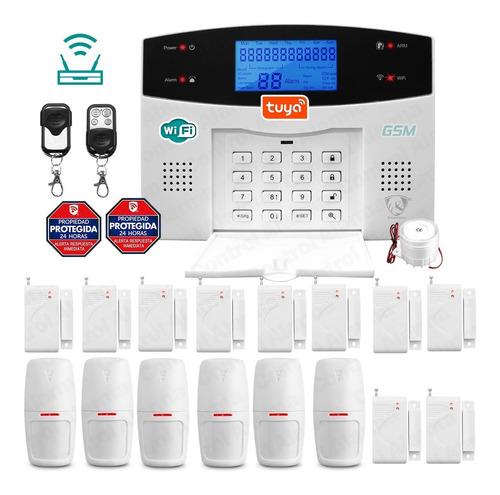 Imagen 1 de 10 de Wifi Kit 20 Alarma Gsm Celular Vecinales Seguridad Casa Sensores Inalambrica Defensa Alertas Control Via App Negocio