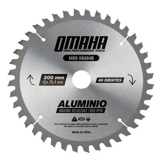 Hoja De Sierra Para Madera/aluminio 200 X 25,4 Mm 40 Dientes