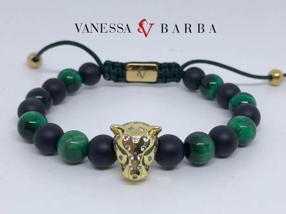 Pulsera Ojo De Tigre Verde, Onix Mate Jaguar Con Zirconias