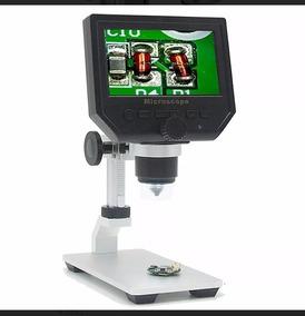 Microscópio Digital Com Tela Lcd 600x Com Suporte Alumínio
