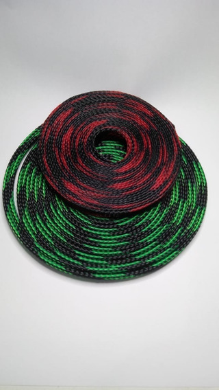 Malha Náutica Expansiva 8mm Black Red - Black Green 5m Cada
