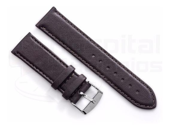 Pulseira Couro Pelica Cabra Macio Marrom P/ Relógio 18mm