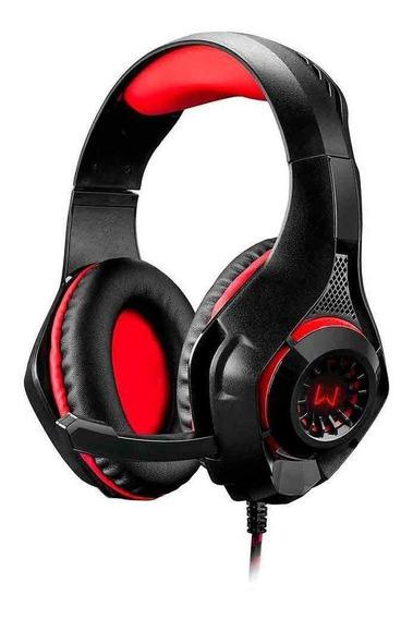 Fone de ouvido gamer Warrior Rama preto e vermelho com luz LED