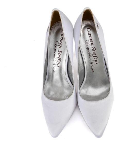 Sapato Carmen Steffans Scarpin Branco Salto Alto Fino Novo